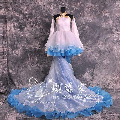VOCALOID Hatsune Miku Cantarella Costume Cosplay White Blue Dress Customized