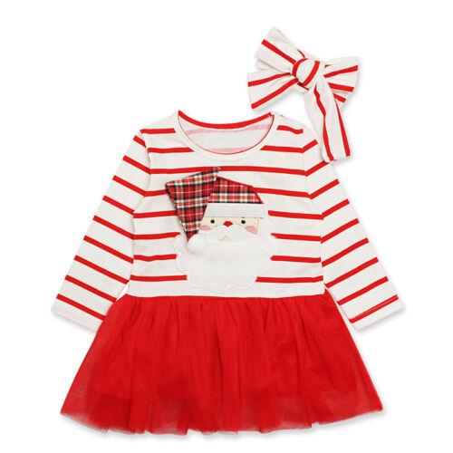 Kids Infant Baby Girls Santa Christmas Striped Tutu Tulle Dress+Headband Outfits