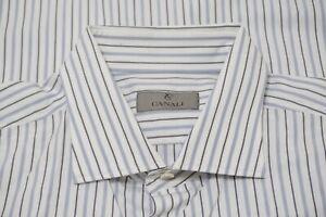 Canali 1934 Silver Label White Blue Striped Spread Collar Dress Shirt Sz 18