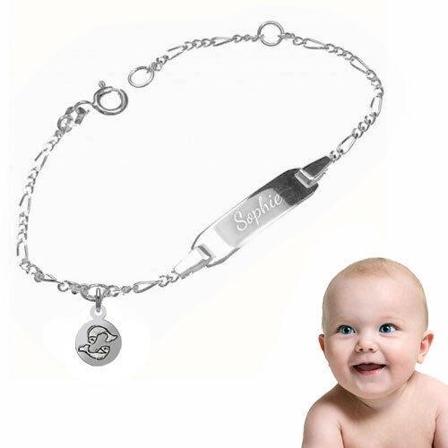 Baby Taufarmband Figaro mit persönlichem Sternzeichen-Sterling Silber925-Gravur