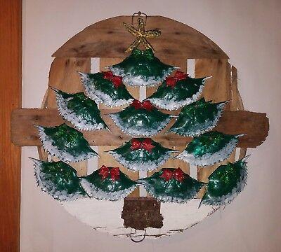 Hand Painted Wooden Crab Bushel Basket Lid Christmas Tree