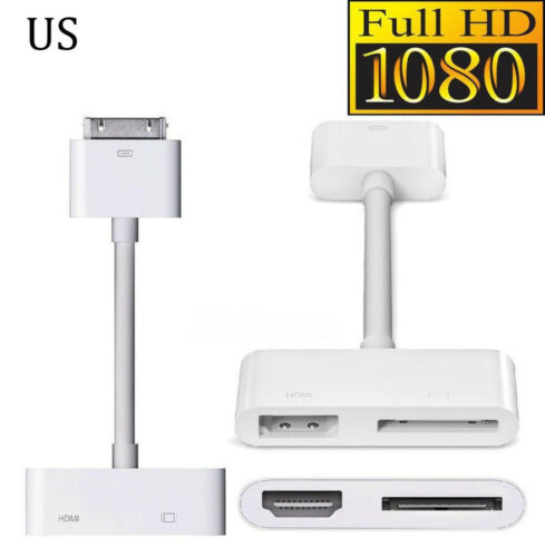 Digital AV HDTV Adapter 30 Pin Dock Connector to HDMI for iPad 2//3 iPhone 4S