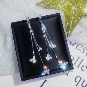 Hot-silver-Wedding-Bridal-Crystal-Butterfly-Drop-Dangle-Long-Earrings-Jewelry