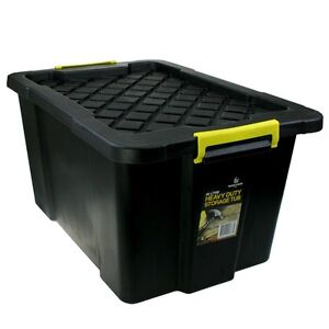 4 X 60l Black Heavy Duty Large Plastic Storage Tubs Crate