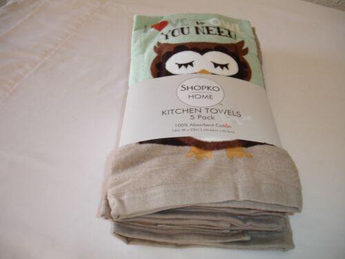 Wildlife Owl Love Dish Towel Hand Tea Towel Terry Cotton Towels 5 Pk New