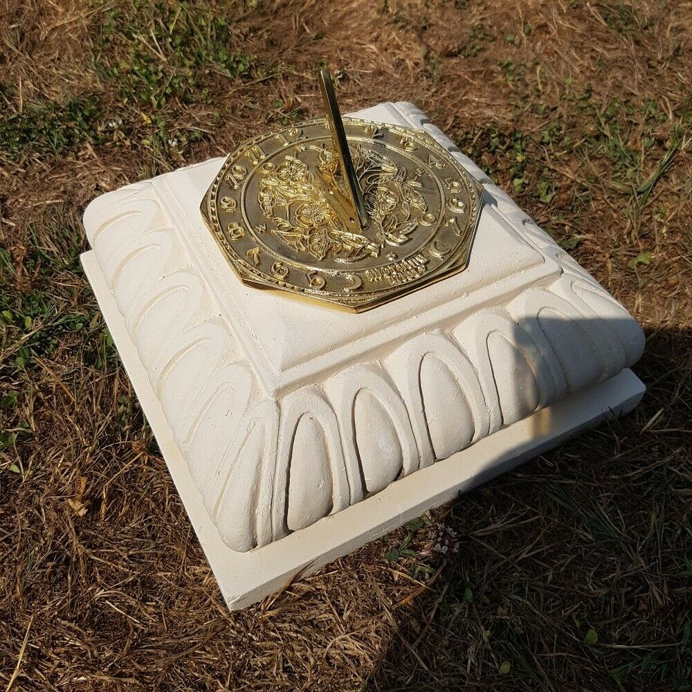 Concrete Square Small Plinth In Cream With Octagonal Morning Glory