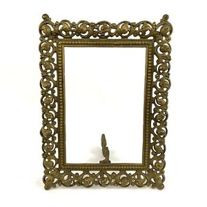 Brass-Victorian-V-Sautie-Style-Art-Nouveau-Antique-Picture-Frame-Ornate-12