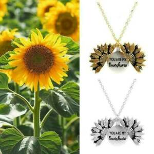 034-You-Are-My-Sunshine-034-Open-Locket-Sunflower-Pendant-Necklace-Couple-Jewelry-Gift