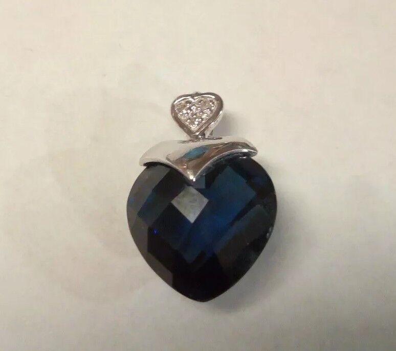 Alwand Vahan 10k gold Sapphire And  Diamond Heart Pendant
