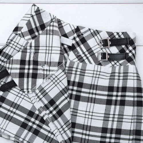 Kid Girl School Uniform Pleated Skirt Scooter Skater Casual Dress Hidden Shorts