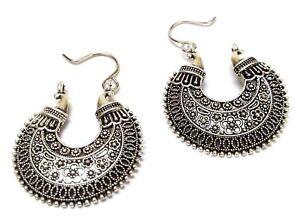 ef8f2a1ce Image is loading Silver-Oxidized-Earring-Jhumka-Jhumki-Chand-Bali-Imitation-