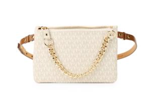 NWT-Michael-Kors-Logo-Belt-Bag-Fanny-Pack-With-Pull-Chain-Vanilla-Brown-Medium