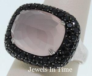 Femmes Diamant Noir & Quartz Bague 18k Or Blanc 7-afficher Le Titre D'origine