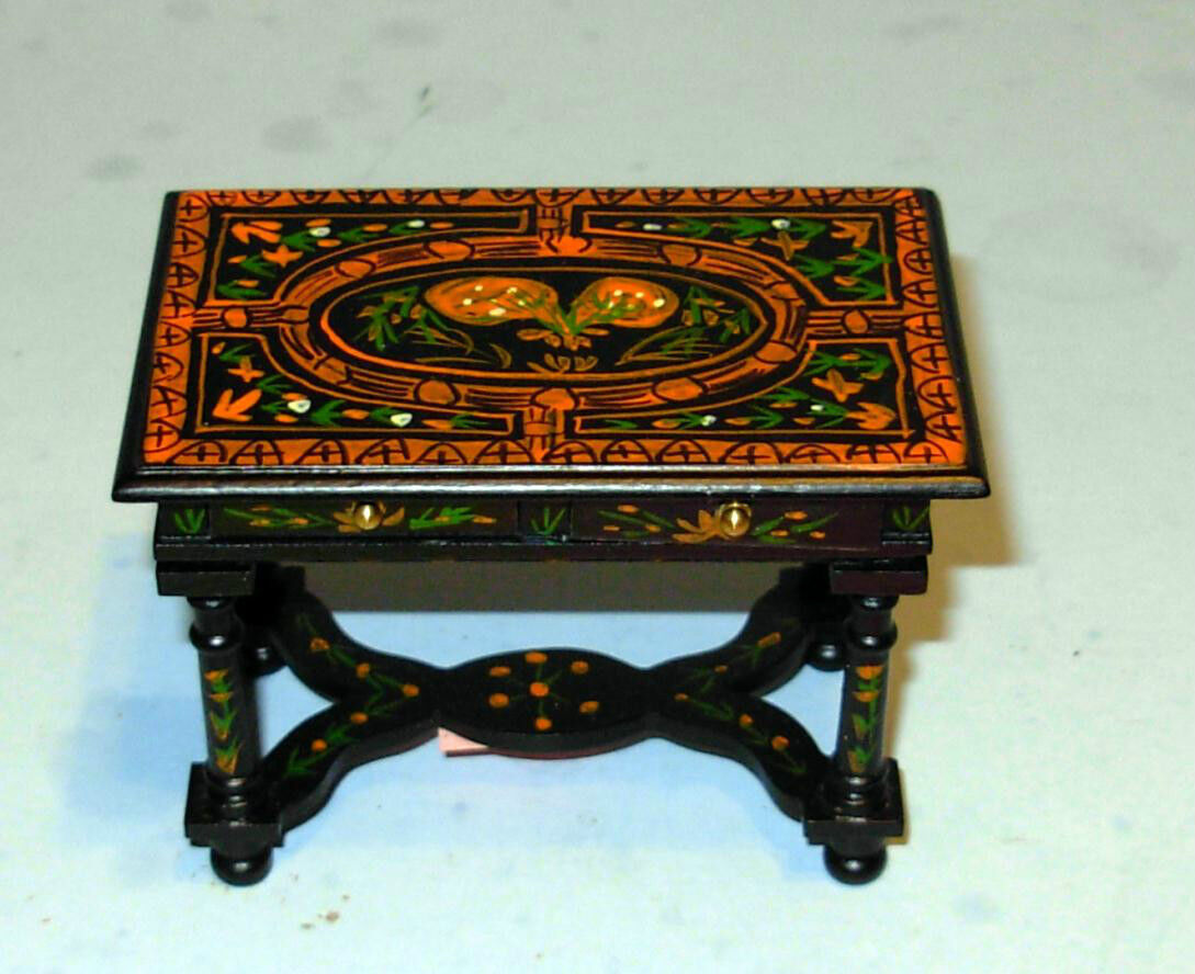 ORIENTAL DECORATED TABLE DOLLHOUSE FURNITURE MINIATURES