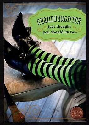 Wicked Witches Legs Shoes Green NEW Granddaughter Halloween Greeting Card