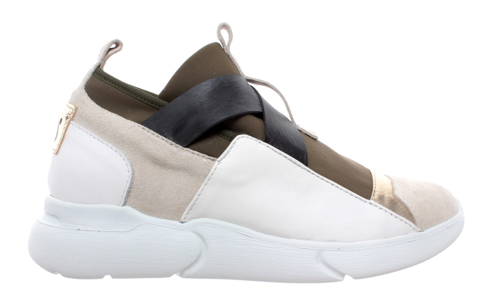 Women's shoes iXOS Sneakers Multicolor Beige gold Kaki Leather Slip On New
