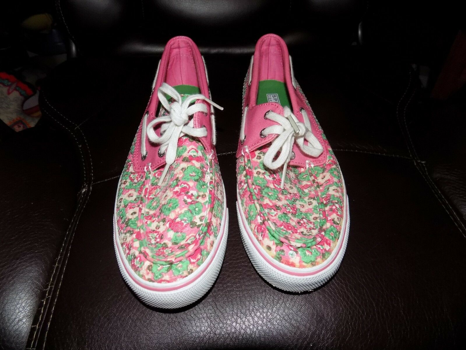 Sperry Top-Sider Pink Green Floral Sequin Boat shoes 9770850 Size 8M Women's EUC