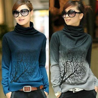 Women Soft Turtleneck Sweater Shirt Long Sleeve Gradient Color Knitting Wool D18