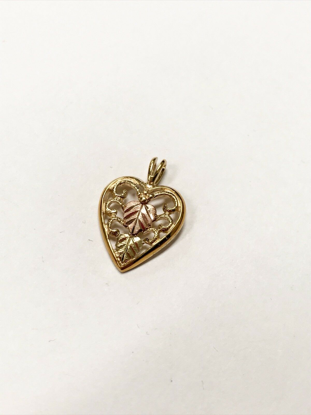10K Yellow & pink gold Heart Pendant