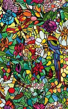 Beautiful Faux Stained Glass Window Cling Film - Birds Flowers Dragonfly Bugs