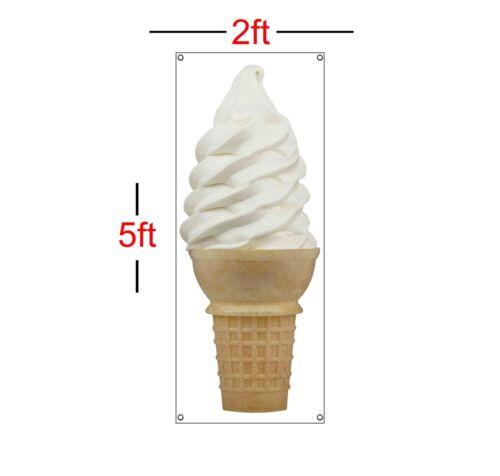 Vanilla ICE CREAM CONE Vertical Vinyl Banner Sign 13oz 2ft x 5ft