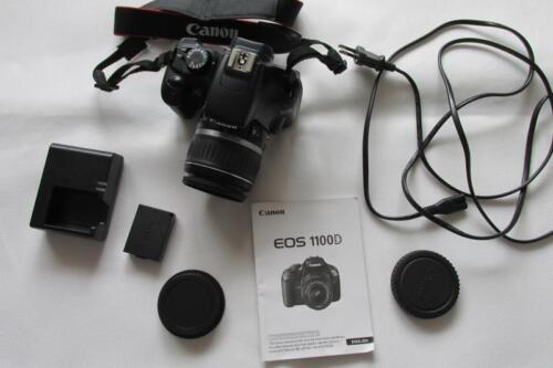 1 of 1 - Canon EOS 1100D 12.2MP Digital-SLR DSLR Camera/Camcorder with EF-S 18-55mm Lens