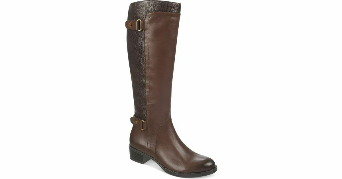 New 189  Franco Sarto Women's Brown Crash Wide Calf Riding Boots US Size 6.5M