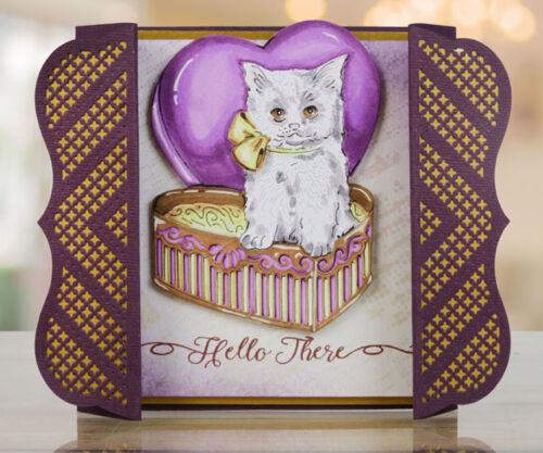 """3.39/"""" x 4.53/""""   TTLD0008 ~ NIP Tattered Lace Dies Chocolate Box Kitty"""