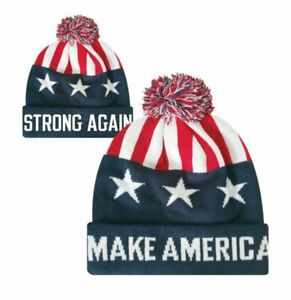 Make America Strong Again American Flag Pom Beanie Knit Stocking Watch Cap Hat