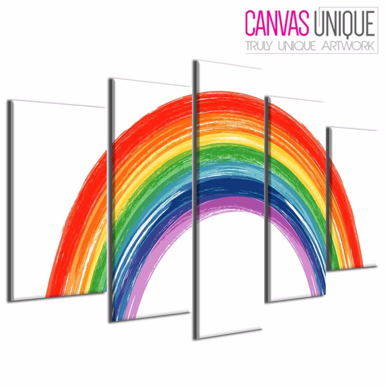 5PAB965 Painted Rainbow Kids Abstract Canvas Wall Art Framed Print