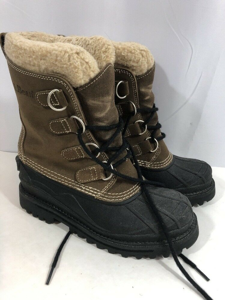 L.L. Bean para mujeres Cuero Gamuza marrón Invierno Nieve Forrado De Lana botas