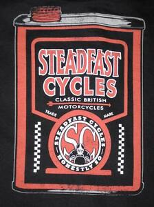 Steadfast Cycles Mens Small shirt oil can Vintage English Cafe Racer motorcycle