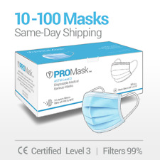 1050100 Promask Disposable Face Masks Medical Surgical Dental 3 Ply Earloop