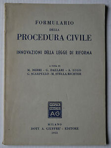 Appris (prl) Antique Book Raro 1951 Libro Formulario Procedura Civile Legge Riforma Rar