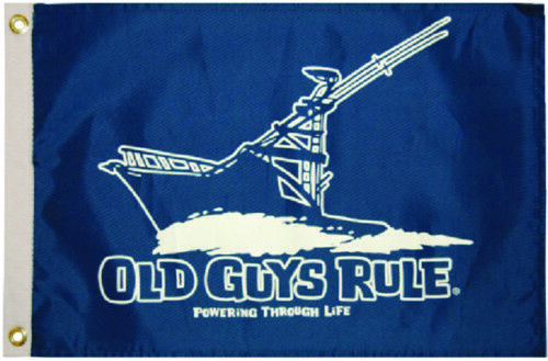 """Boat Marine Old Guys Rule Powering Through Life Flag 12/"""" x 18/"""" W// Brass Grommets"""