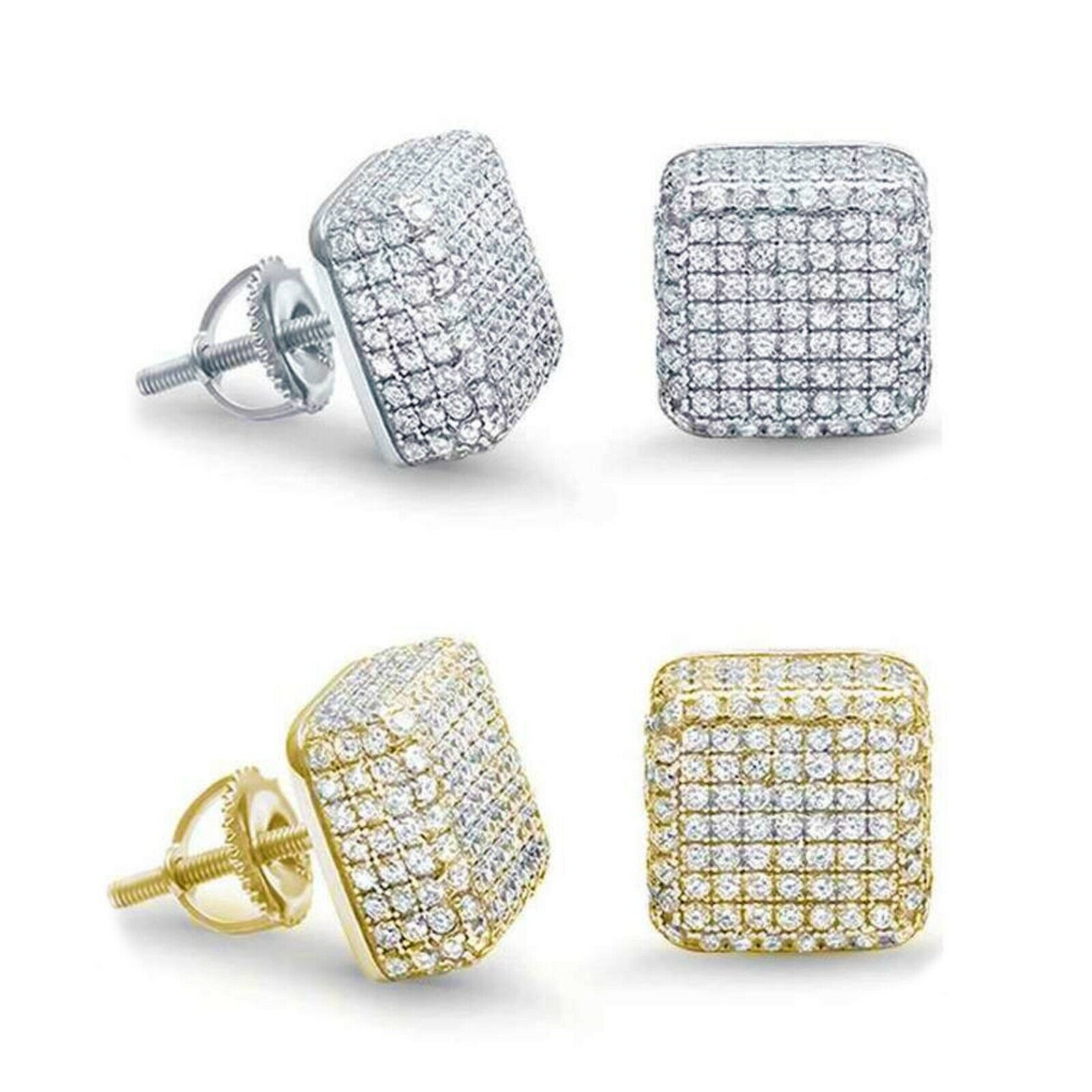 Details about  /Yellow or White Gold Micro Pave Sterling Silver Raised Square Stud Earrings
