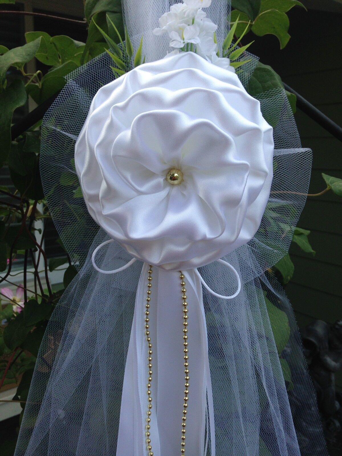 Lot De 6 Mariage Décorations Blanc Chaise Bows Pew Bows église Allée Arc décor.