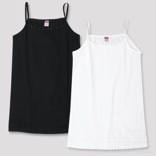 2 PACK Ladies Cotton Strappy Vest Top Camisole Daisy Trim Cami,Black White,12 14