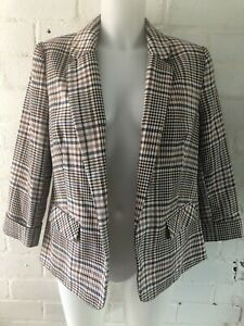 Womens-Blazer-Size-14-Check-Pink-Short-Sleeve-Casual-Jacket-Office