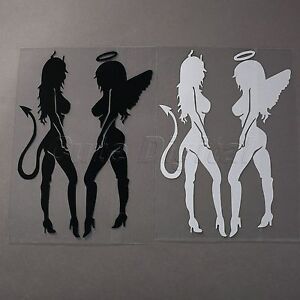 One Pair Sexy Angel Devil Women Girls Vinyl Car Auto Decal - Modern car decal sticker girl