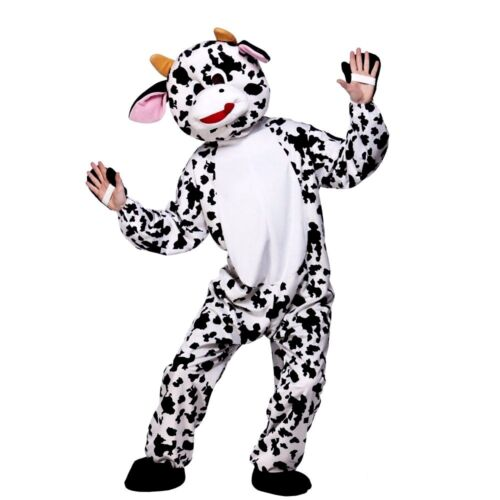 Adult CUTE COW Mascot Farmyard Animal Moo Mad Fancy Dress Costume Unisex Deluxe