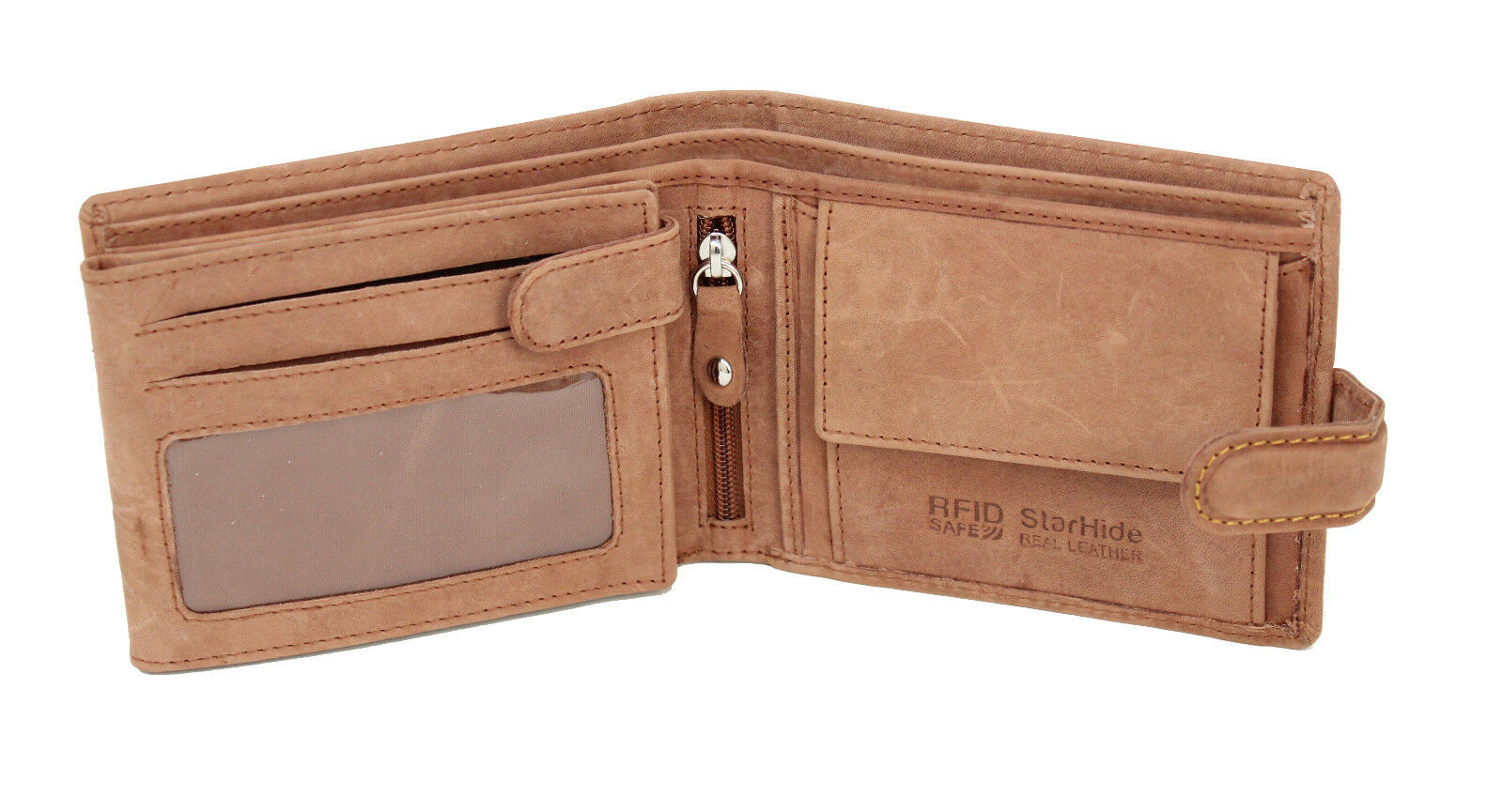 RFID NFC Blocking Mens Leather Zip Up Wallet 9 Credit Cards Gift Box Boxed R184M