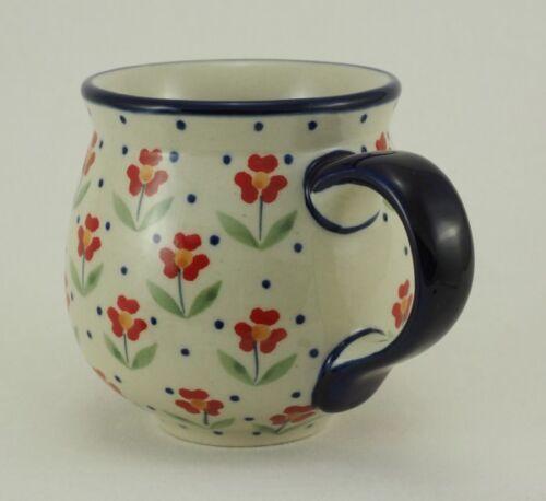 K090-AC61 blau//weiß//rot Bunzlauer Keramik Tasse BÖHMISCH Blumen 0,3 Liter,