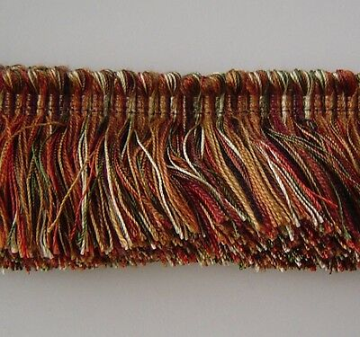 2 Layer Very Thick Brush Fringe Cut Fringe Rust Brown Antique Gold Putty Green..