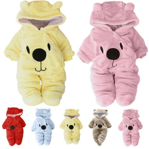 Newborn Baby Girl Boy Solid Cartoon Bear Velvet Hooded Jumpsuit Romper Clothes