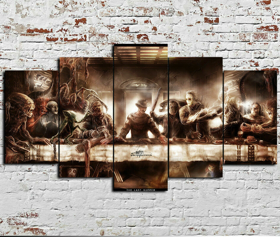 Horror Movie Characters Canvas Print Home Decor Wall Art Framed Five Piece 5