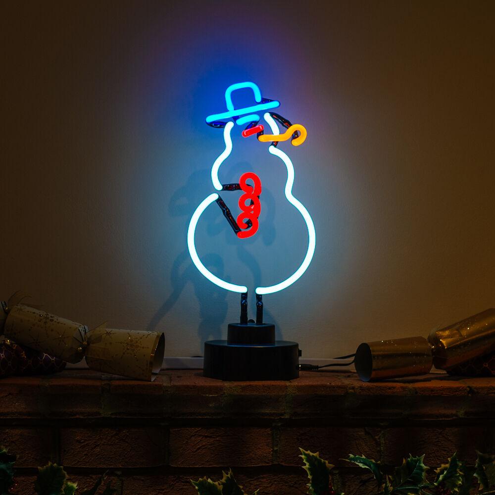 Real Handmade Neon Christmas Light Decoration Festive FROSTY THE SNOWMAN Sign
