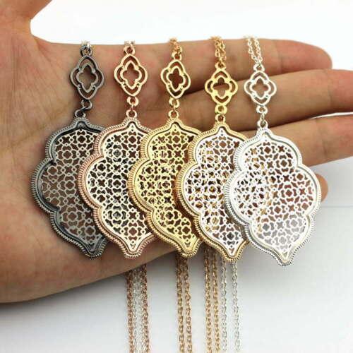 2019 Hot Cut off Gold Filigree Quatrefoil Long Chain Pendant Necklace for Women