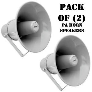 "Pair of Pyle PHSP101T 9.7"" Indoor/Outdoor 20W PA Horn Speaker W/ 70V Transformer"