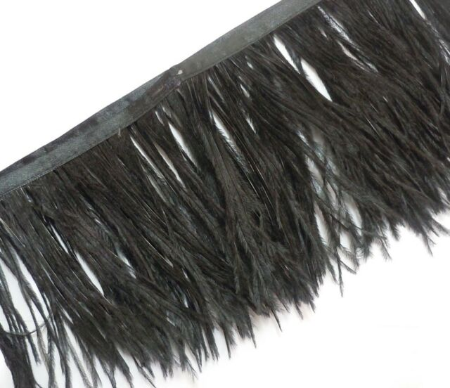 """Fj1 4""""-6"""" Black Ostrich Feather fringe Trim by Yard"""